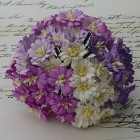 Маргаритка, цвет белый/пурпурный - 25мм (50шт.)
