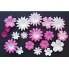 Цветочки плоские розово-белые тона - 20-50мм (100шт.)