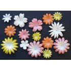 Цветочки плоские персик., желтые, белые тона - 20-50мм (100шт.)