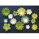 Цветочки плоские бело-зеленые тона - 20-50мм  (100шт.)