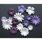 Цветочки плоские пурпурно-белые тона - 20-50мм (100шт.)
