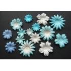Цветочки плоские бело-голубые тона - 20-50мм (100шт.)