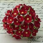 Цветочек белый с красным - 15мм (100шт.)