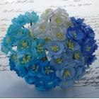 Цветок вишни, синий/голубой микс - 25мм (50шт.)