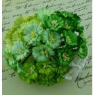 Маргаритка, цвет белый/зеленый - 25мм (50шт.)