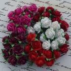 Роза открытая, тон красный/белый/фуксия - 10мм (100шт.)