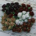 Роза открытая, шоколадно-кремовый микс - 10мм (100шт.)