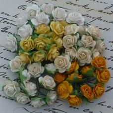 Роза открытая, тон земляной/белый/оранж. - 15мм (100шт.)