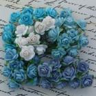 Роза открытая, тон синий/белый/голубой - 15мм (100шт.)