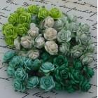 Роза открытая, тон зеленый/белый/салатовый – 15мм (100шт.)
