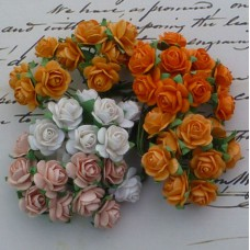 Роза открытая, тон персик./белый/оранж. -10мм (100шт.)