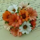Хризантема, тон персиковый/белый/оранж. - 45мм (50шт.)