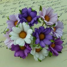 Хризантема, тон пурпурный/белый/лиловый - 45мм (50шт.)