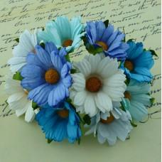 Хризантема, тон синий/белый/голубой - 45мм (50шт.)