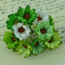 Хризантема, тон зеленый/белый/салатовый - 45мм (50шт.)