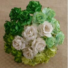 Дикая роза, зелено-белые тона – 30мм (50шт.)