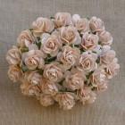 Роза открытая, персиковый тон, бледный - 25мм (100шт.)
