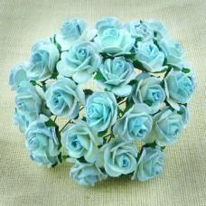 Роза открытая, тон античный голубой - 15мм (100шт.)