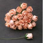 Роза бутоном, цвет персиковый - 10мм (50шт.)