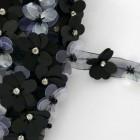 Лента цветочные пайетки чёрные 25мм