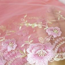 Кружево розовое 19см