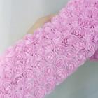 Лента с шифоновыми розами розовая 8см