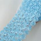 Лента с шифоновыми розами голубая 8см