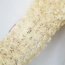 Лента с шифоновыми розами кремовая 8см