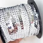 Пайетки на нитке серебро 6мм