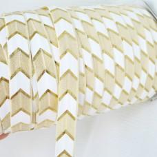 Резинка бело-кремовая/золото шеврон 15мм
