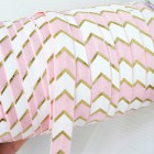 Резинка бело-розовая/золото шеврон 15мм