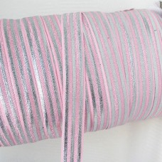 Резинка розовая/полоски серебро 15мм