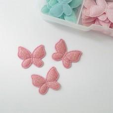 """Украшение """"Бабочка"""" с глиттером розовые 25*30мм"""