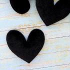 """Украшение """"Сердце"""" бархатное чёрное 47*50мм"""