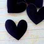 """Украшение """"Сердце"""" бархатное тёмно-синее 47*50мм"""