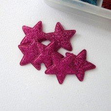 """Украшение """"Звезда"""" с глиттером ярко-розовая, 24мм"""