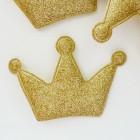 """Украшение """"Корона"""" с глиттером, золото, 55*80мм"""
