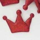 """Украшение """"Корона"""" с глиттером, красная, 55*80мм"""
