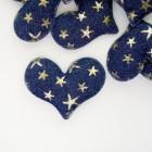 """Украшение """"Сердце"""" синее звезды, 43*50мм"""