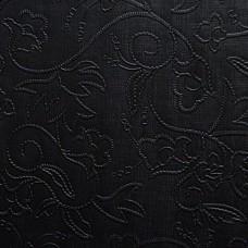 Искусственная кожа, текстура цветы, чёрный, 50*35см