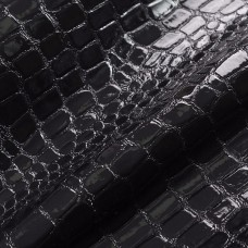 Искусственная кожа, текстура крокодил, чёрный, 50*35см