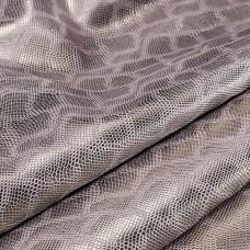Искусственная кожа, текстура питон блеск, крем/серебро, 50*35см