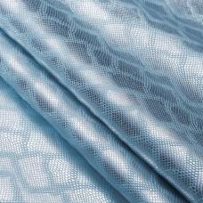 Искусственная кожа, текстура питон блеск, голубой/серебро, 50*35см