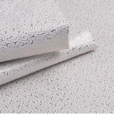 Искусственная кожа завитки, белый/серебро, 35*50см