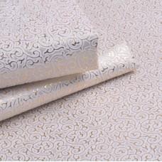 Искусственная кожа завитки, белый/золото, 35*50см
