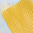 Искусственная кожа, крупная рептилия, жёлтый, 34*44см