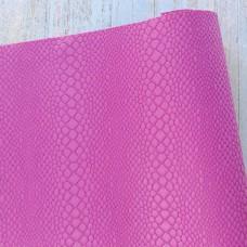 Искусственная кожа, мелкая рептилия, ярко-розовая, 34*45см