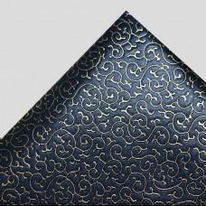Искусственная кожа завитки, чёрный/золото, 35*50см