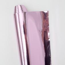 Искусственная кожа, зеркальная розовая, 34*48см