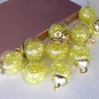 Подвеска шар с кристаллами, лимонный, 15*20мм